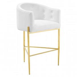 White Button Tufted Velvet Gold 3 Leg Curved Counter or Bar Stool