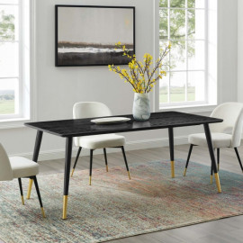 Black Rectangle Wood Top Mid Century Dining Table