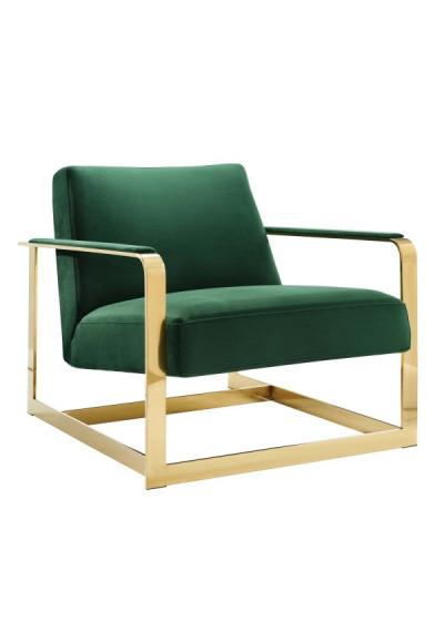 Emerald Green Velvet Square Gold Frame Arm Chair