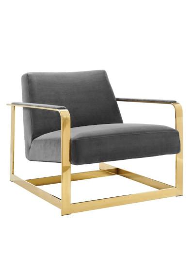 Grey Velvet Square Gold Frame Arm Chair