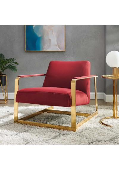 Red Maroon Velvet Square Gold Frame Arm Chair