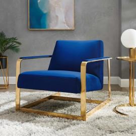 Blue Velvet Square Gold Frame Arm Chair