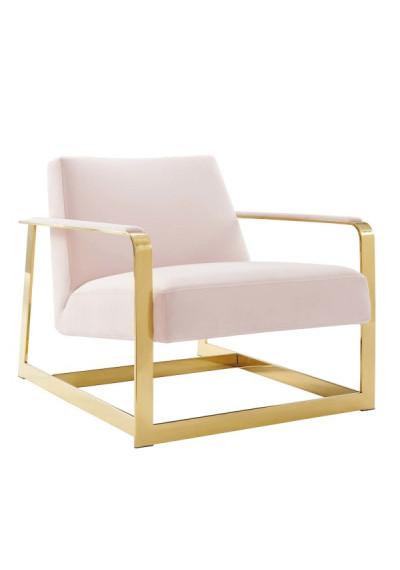 Light Pink Velvet Square Gold Frame Arm Chair