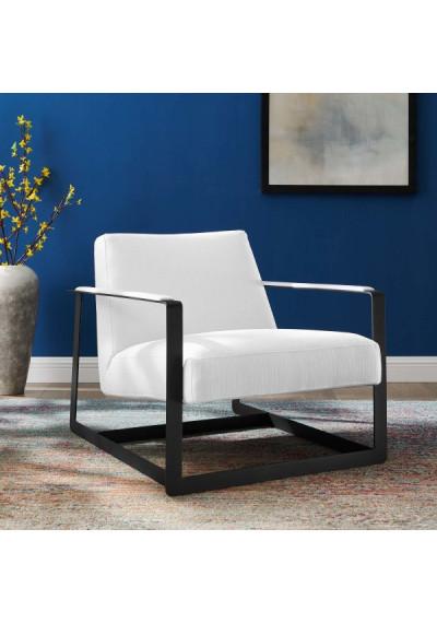 White Fabric Square Black Frame Arm Chair