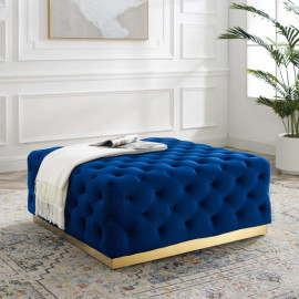 Blue Velvet Totally Tufted Square Ottoman Coffee Table Gold Base
