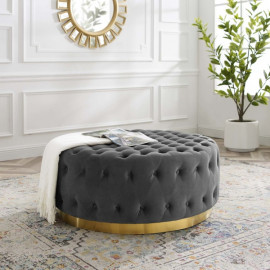 Grey Velvet Totally Tufted Round Ottoman Coffee Table Gold Base