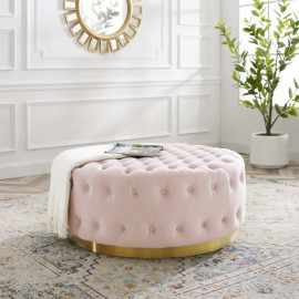 Soft Pink Velvet Totally Tufted Round Ottoman Coffee Table Gold Base