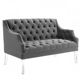 Grey Velvet Tufted Acrylic Leg Glam Loveseat Settee