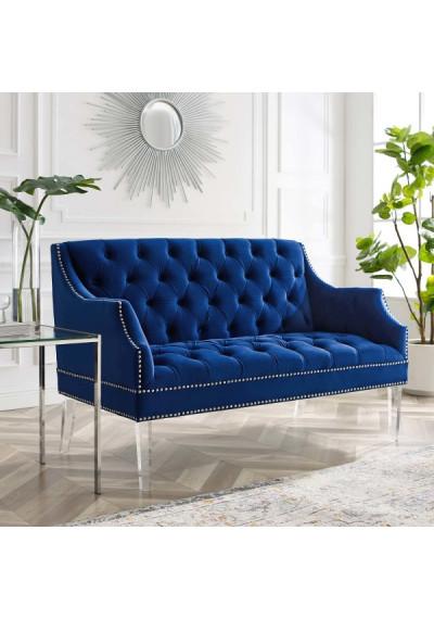 Blue Velvet Tufted Acrylic Leg Glam Loveseat Settee