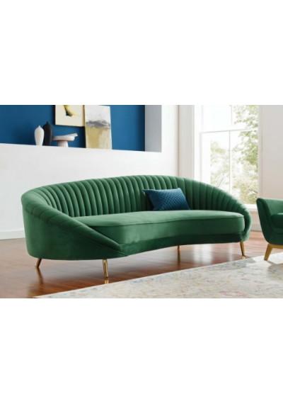 Green Velvet Channel Tufted Back Curved Asymmetrical Sofa