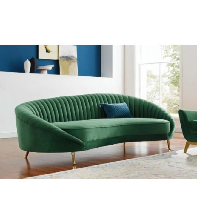 Green Velvet Channel Tufted Back Curved, Tufted Back Sofa