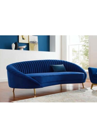 Blue Velvet Channel Tufted Back Curved Asymmetrical Sofa