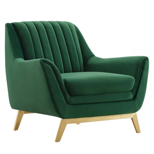 Flared Silhouette Channel Tufted Green Velvet Lounge Chair