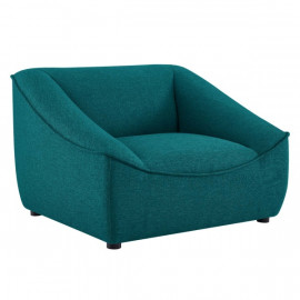 Deep Teal Green Fabric Super Cozy Lounge Chair