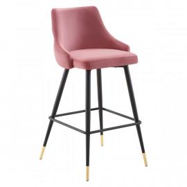 Dusty Rose Pink Back Button Tufted Velvet Black Leg Counter or Bar Stool