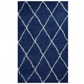 Blue & Ivory White Diamond Design Shag Rug