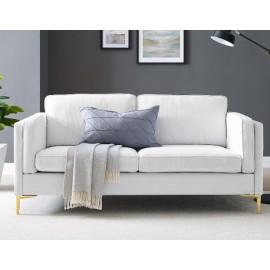 White Fabric French Piping Gold Leg Sofa