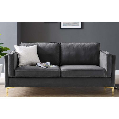 Charcoal Grey Velvet French Piping Gold Leg Sofa