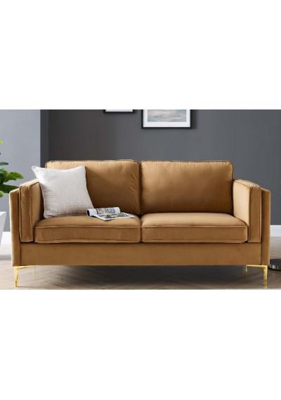 Carmel Velvet French Piping Gold Leg Sofa