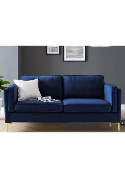 Blue Velvet French Piping Gold Leg Sofa