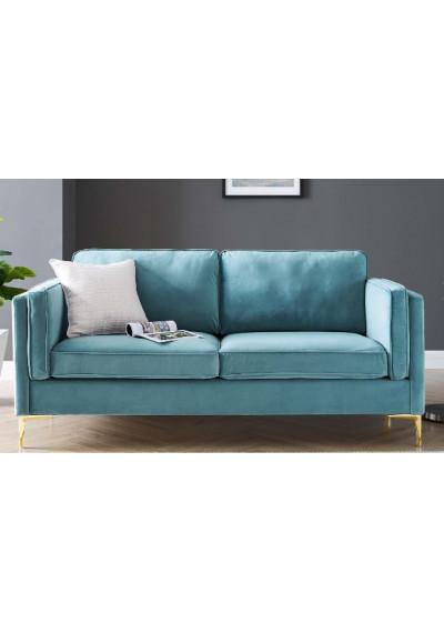 Sea Blue Velvet French Piping Gold Leg Sofa