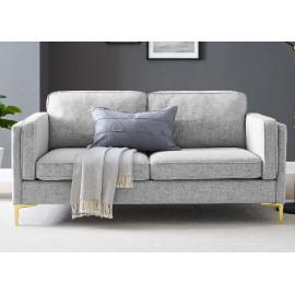 Light Grey Fabric French Piping Gold Leg Sofa