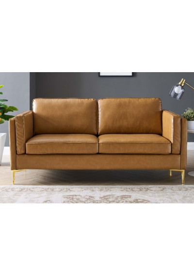 Tan Vegan Leather French Piping Gold Leg Sofa