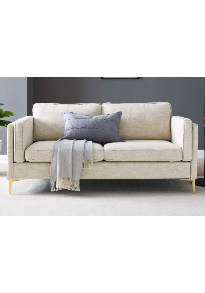 Beige Fabric French Piping Gold Leg Sofa