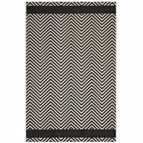 Black & Beige Chevron Zig Zag Print Indoor Outdoor Area Rug 2 Sizes