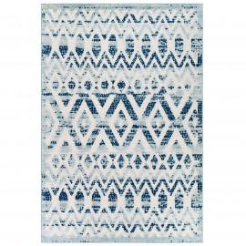 Distressed Ivory & Blue Moroccan Chevron Design Indoor Outdoor Rug