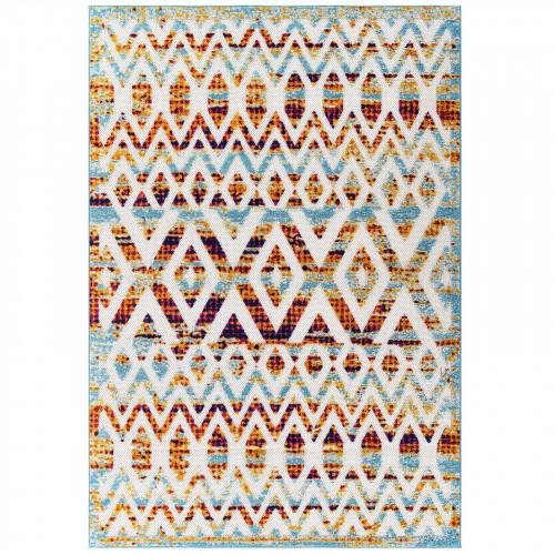 Distressed Multicolored Moroccan Chevron Design Indoor Outdoor Rug