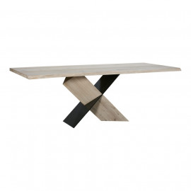 Eclectic X Frame Oak & Iron Dining Table