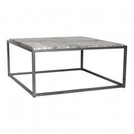 Charcoal Grey Marble Striped Top & Dark Iron Base Square Coffee Table