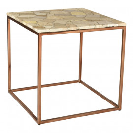 Natural Beige Marble Top & Copper Toned Iron Base Square Side Table