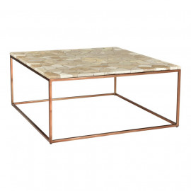 Natural Beige Marble Top & Copper Toned Iron Base Square Coffee Table