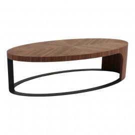 Mid Century Oval Geometric Design Top Coffee Table