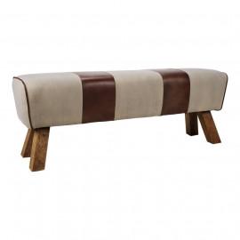 Canvas & Leather Stripe Pommel Bench