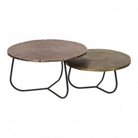 Tree Stump Copper & Brass Aluminum Nesting Tables