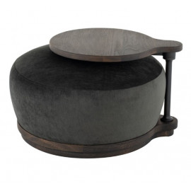 Pewter Black Velvet Ottoman Coffee Table with Rotating Attached Side Table