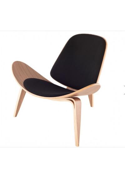 Modern Artistic Walnut & Black Fabric Lounge Accent Chair