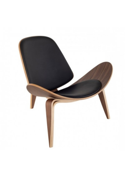 Modern Artistic Walnut & Black Leather Lounge Accent Chair