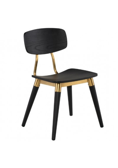 Black Oak & Gold Accent Dining Chair
