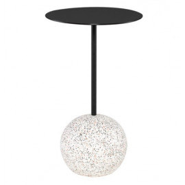 White Speckled Sphere Base Matte Black Body & Top Accent Side Table