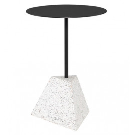 White Speckled Geometric Block Matte Black Body & Top Accent Side Table