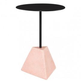 Subtle Pink Geometric Block Matte Black Body & Top Accent Side Table