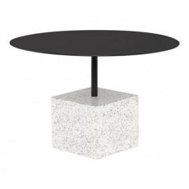 White Speckled Square Block Matte Black Body & Top Petite Coffee Table