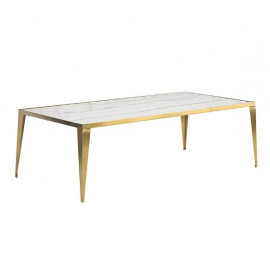Mid Century White Marble Inlay Top Sleek Gold Base Coffee Table