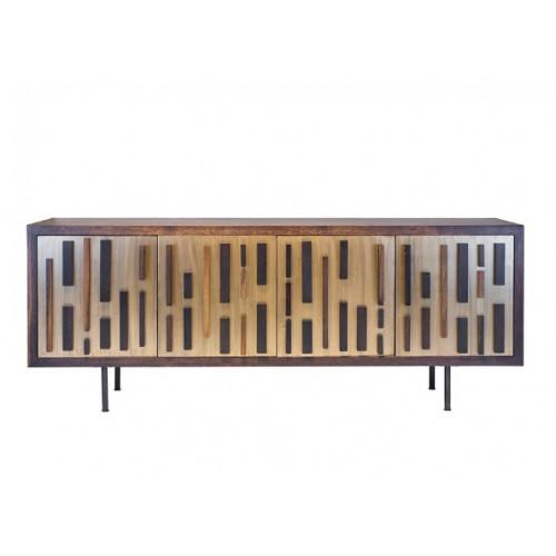 Modern Mid Century Golden Bronze Eclectic Front Sideboard Cabinet