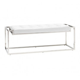 Polished Stainless Steel Frame White Faux Leather Tufted Bench