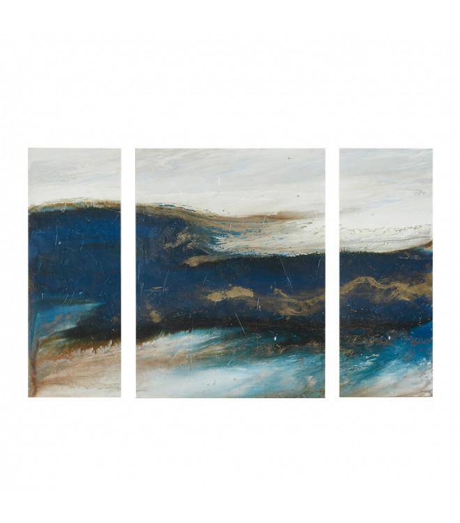 Purple Bowls Wine Bottels Modern Canvas Painting Wall Art: Blue & Gold Abstract Wave Wall Art